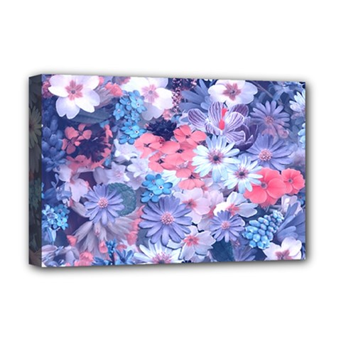 Spring Flowers Blue Deluxe Canvas 18  x 12  (Framed)