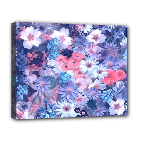 Spring Flowers Blue Deluxe Canvas 20  x 16  (Framed)