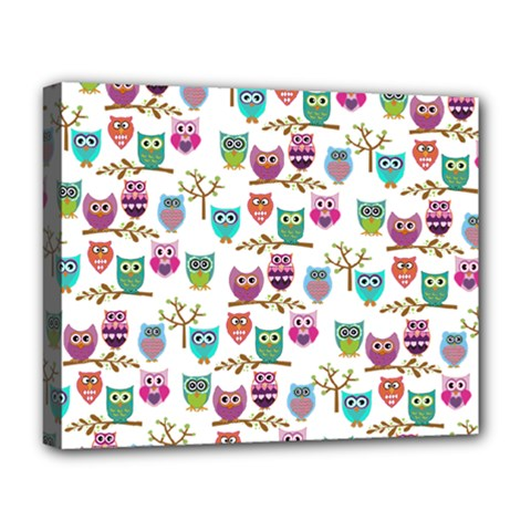 Happy Owls Deluxe Canvas 20  X 16  (framed)