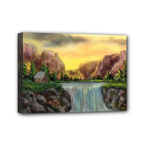 Brentons Waterfall - Ave Hurley - ArtRave - Mini Canvas 7  x 5  (Framed)