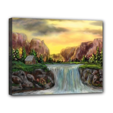 Brentons Waterfall - Ave Hurley - ArtRave - Canvas 14  x 11  (Framed)