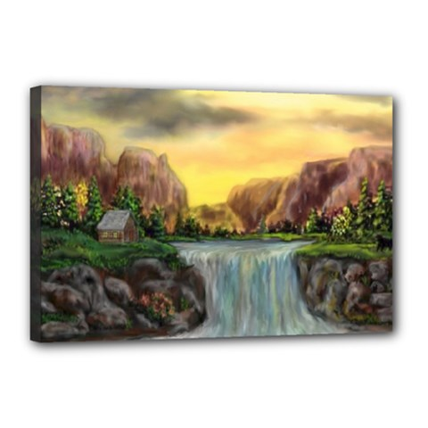 Brentons Waterfall - Ave Hurley - ArtRave - Canvas 18  x 12  (Framed)