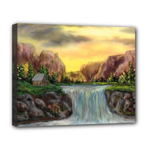 Brentons Waterfall   Ave Hurley   Artrave   Deluxe Canvas 20  X 16  (framed)