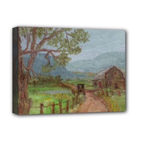 Amish Buggy Going Home  by Ave Hurley of ArtRevu ~ Deluxe Canvas 16  x 12  (Stretched)