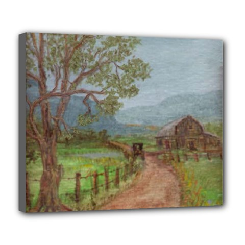 Amish Buggy Going Home  by Ave Hurley of ArtRevu ~ Deluxe Canvas 24  x 20  (Stretched)