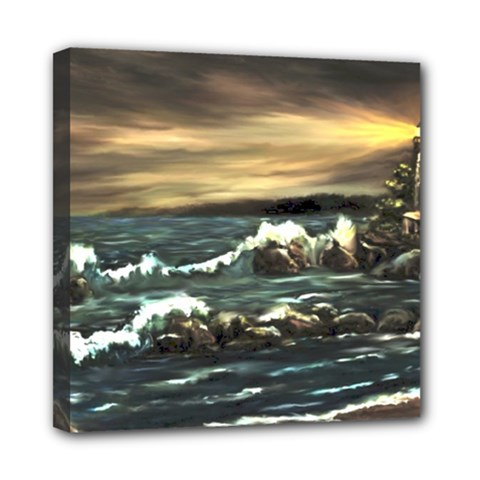 Bridget s Lighthouse   by Ave Hurley of ArtRevu ~ Mini Canvas 8  x 8  (Stretched)