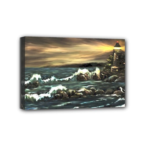 bridget s Lighthouse   By Ave Hurley Of Artrevu   Mini Canvas 6  X 4  (stretched)