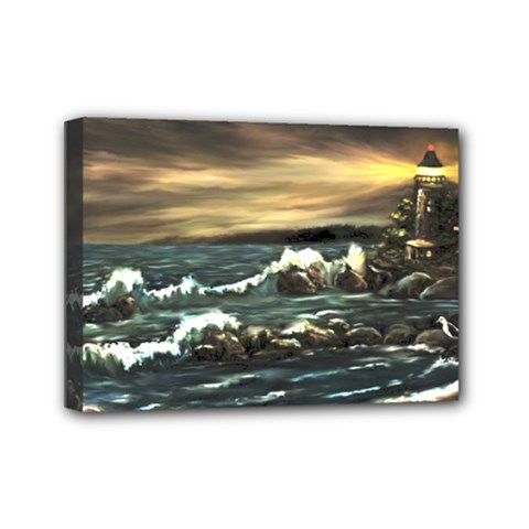 Bridget s Lighthouse   by Ave Hurley of ArtRevu ~ Mini Canvas 7  x 5  (Stretched)