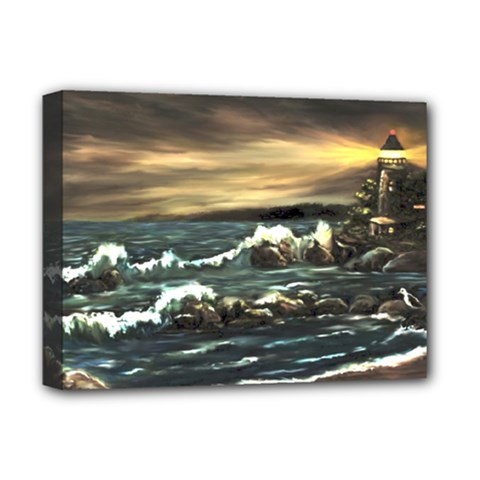 Bridget s Lighthouse   by Ave Hurley of ArtRevu ~ Deluxe Canvas 16  x 12  (Stretched)