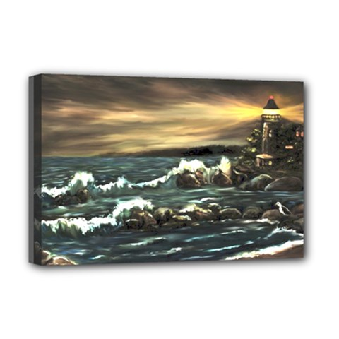 Bridget s Lighthouse   by Ave Hurley of ArtRevu ~ Deluxe Canvas 18  x 12  (Stretched)