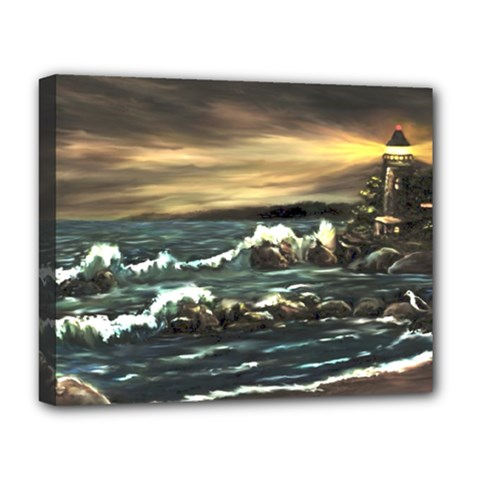 Bridget s Lighthouse   by Ave Hurley of ArtRevu ~ Deluxe Canvas 20  x 16  (Stretched)