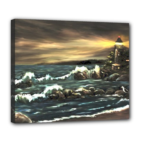 Bridget s Lighthouse   by Ave Hurley of ArtRevu ~ Deluxe Canvas 24  x 20  (Stretched)