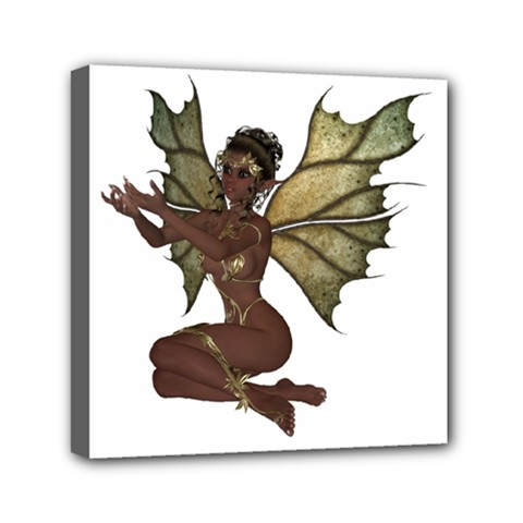 Faerie Nymph Fairy With Outreaching Hands Mini Canvas 6  X 6  (framed)