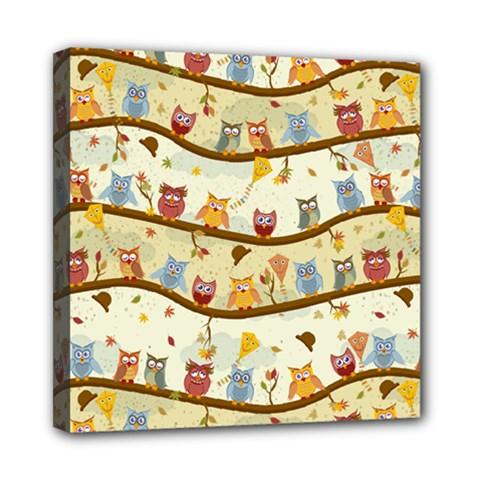 Autumn Owls Mini Canvas 8  x 8  (Framed)