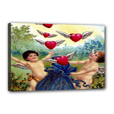 Vintage Valentine Cherubs Canvas 18  x 12  (Framed)