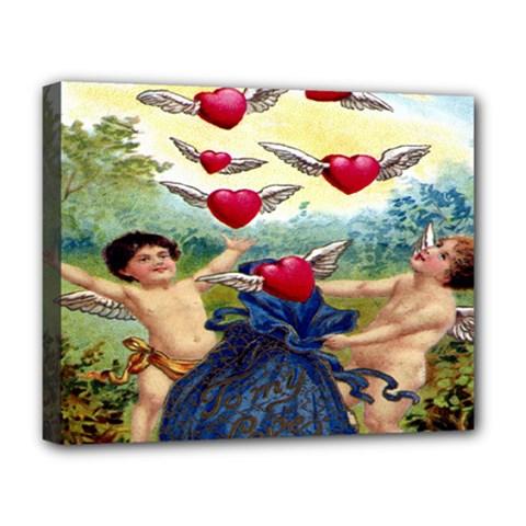 Vintage Valentine Cherubs Deluxe Canvas 20  x 16  (Framed)