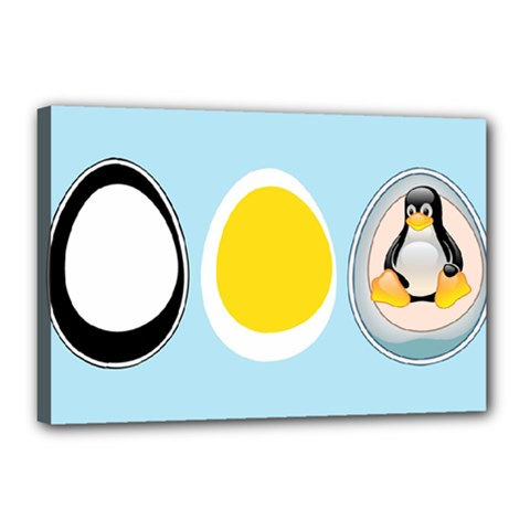 LINUX TUX PENGUIN IN THE EGG Canvas 18  x 12  (Framed)