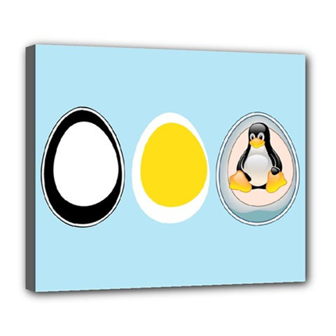Linux Tux Penguin In The Egg Deluxe Canvas 24  X 20  (framed)