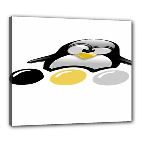 Linux Tux Pengion And Eggs Canvas 24  X 20  (framed)