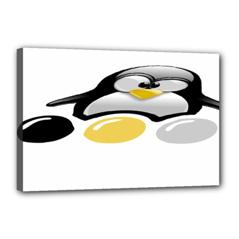 LINUX TUX PENGION AND EGGS Canvas 18  x 12  (Framed)