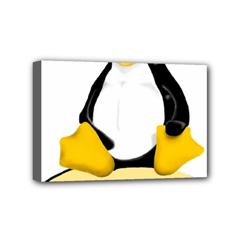 linux black side up egg Mini Canvas 6  x 4  (Framed)