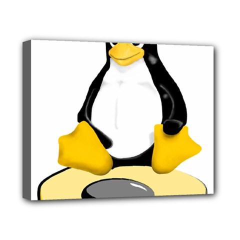 Linux Black Side Up Egg Canvas 10  X 8  (framed)