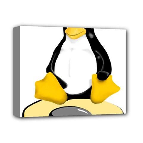 linux black side up egg Deluxe Canvas 14  x 11  (Framed)