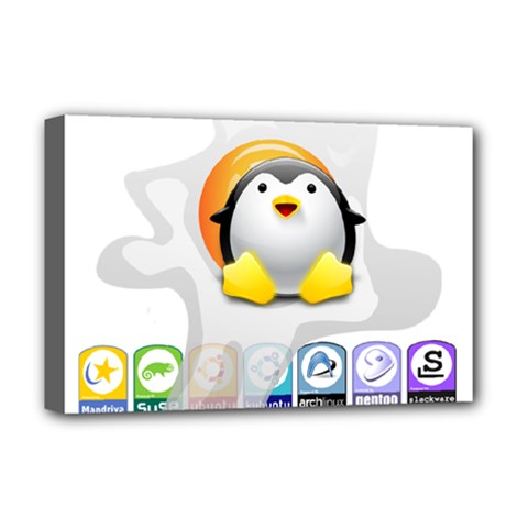 LINUX VERSIONS Deluxe Canvas 18  x 12  (Framed)