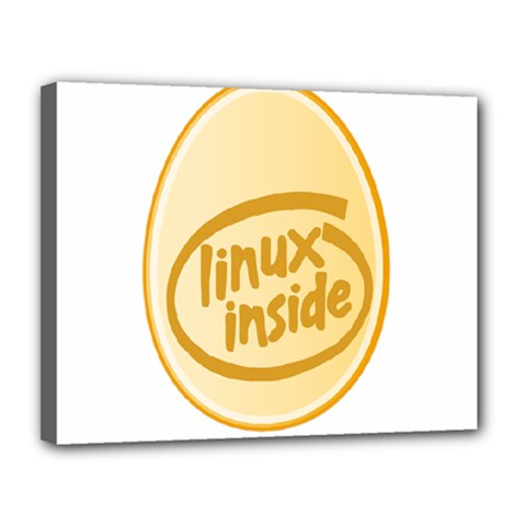 LINUX INSIDE EGG Canvas 14  x 11  (Framed)