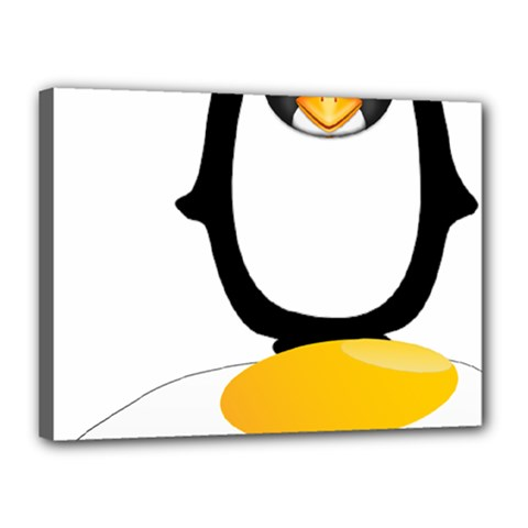 Linux Tux Pengion Oops Canvas 16  x 12  (Framed)