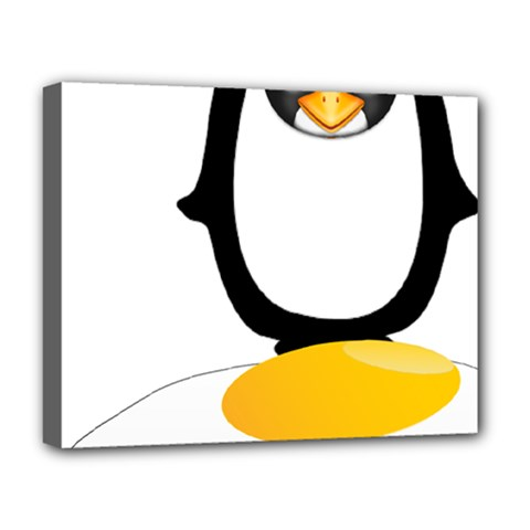 Linux Tux Pengion Oops Deluxe Canvas 20  X 16  (framed)