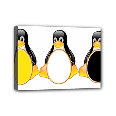 LINUX TUX PENGUINS Mini Canvas 7  x 5  (Framed)
