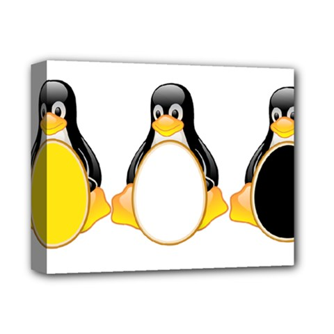 Linux Tux Penguins Deluxe Canvas 14  X 11  (framed)