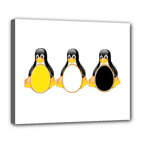 Linux Tux Penguins Deluxe Canvas 24  X 20  (framed)
