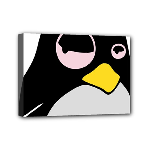 Lazy Linux Tux Penguin Mini Canvas 7  X 5  (framed)