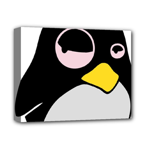 Lazy Linux Tux Penguin Deluxe Canvas 14  X 11  (framed)