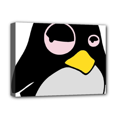 Lazy Linux Tux Penguin Deluxe Canvas 16  x 12  (Framed)