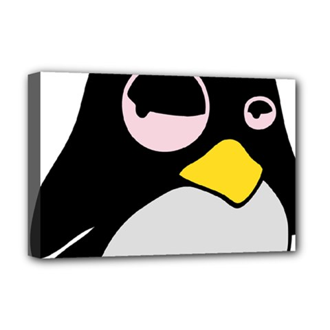 Lazy Linux Tux Penguin Deluxe Canvas 18  x 12  (Framed)