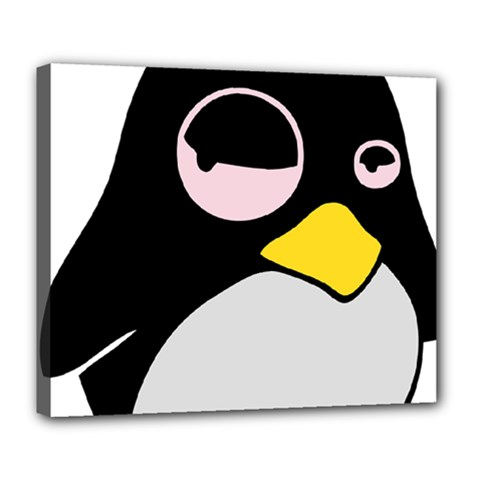 Lazy Linux Tux Penguin Deluxe Canvas 24  x 20  (Framed)