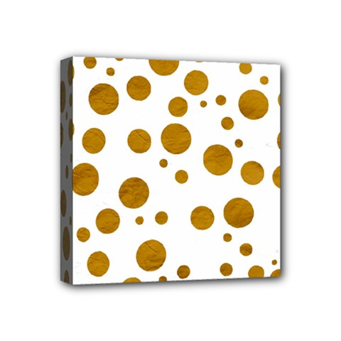 Tan Polka Dots Mini Canvas 4  x 4  (Framed)