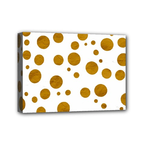 Tan Polka Dots Mini Canvas 7  X 5  (framed)