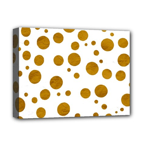 Tan Polka Dots Deluxe Canvas 16  X 12  (framed)