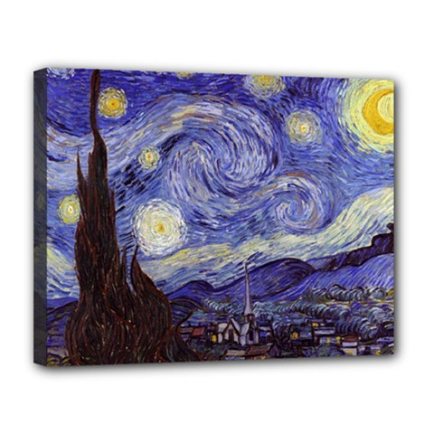 Vincent Van Gogh Starry Night Canvas 14  x 11  (Framed)