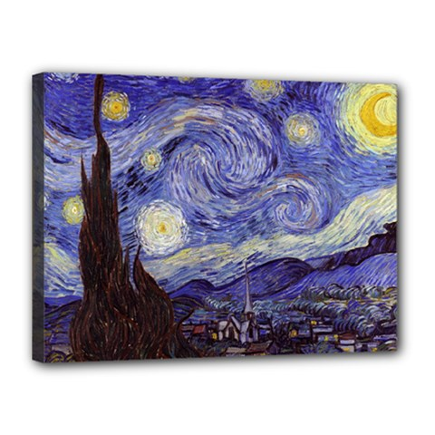 Vincent Van Gogh Starry Night Canvas 16  x 12  (Framed)