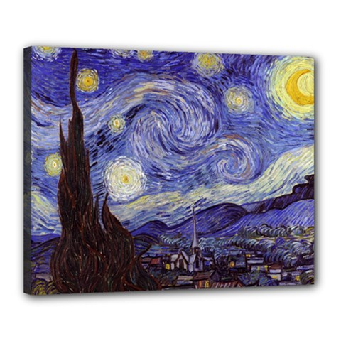 Vincent Van Gogh Starry Night Canvas 20  x 16  (Framed)