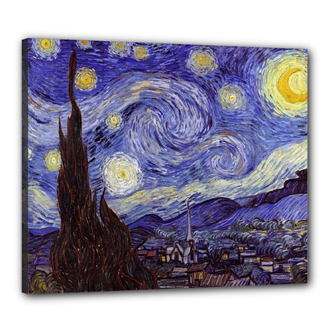 Vincent Van Gogh Starry Night Canvas 24  X 20  (framed)