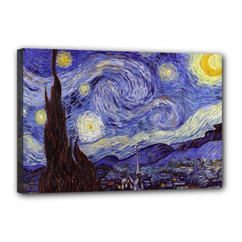 Vincent Van Gogh Starry Night Canvas 18  x 12  (Framed)