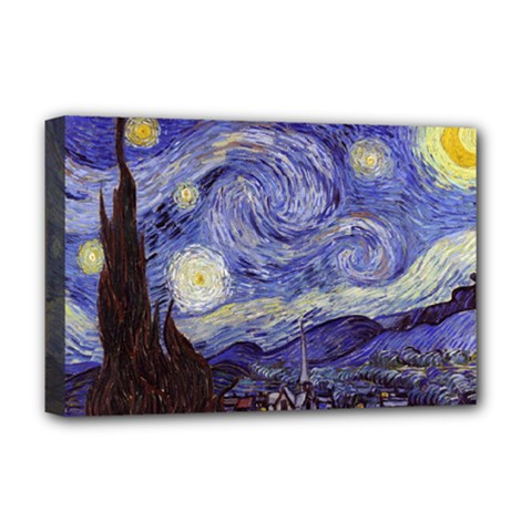 Vincent Van Gogh Starry Night Deluxe Canvas 18  x 12  (Framed)