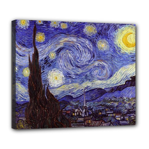 Vincent Van Gogh Starry Night Deluxe Canvas 24  x 20  (Framed)