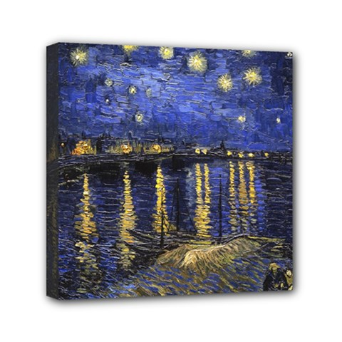 Vincent Van Gogh Starry Night Over The Rhone Mini Canvas 6  x 6  (Framed)